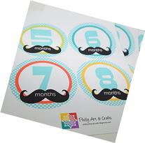 Baby Boy Monthly Stickers - Baby Shower Gift - Mustache Baby