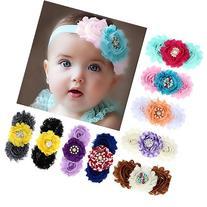 Baishitop 9PC Baby Girl Flower Headbands Rhinestone