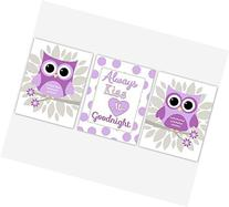 Baby Girl Nursery Wall Art Purple Lavender Gray Owls Flowers