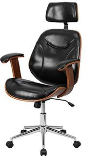 Flash Furniture High Back LeatherSoft Executive Wood Swivel