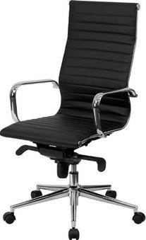 High Back Black Ribbed Upholstered Leather Executive Swivel