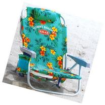 Tommy Bahama Backpack Chair, Orange Flowers and Green-Blue