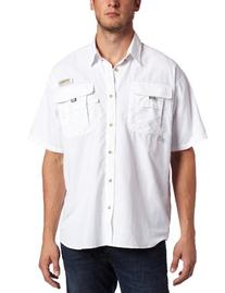 Columbia Men's Bahama II Short Sleeve Shirt, White, Large