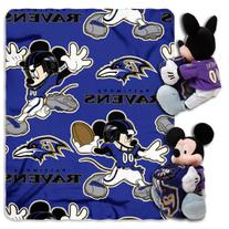 NFL Baltimore Ravens Mickey Mouse Pillow with Fleece Throw