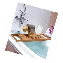 Bamboo Bathtub Caddy with Extendable Sides, Cellphone Tray