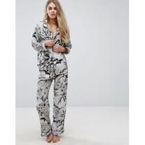 Glamorous Bamboo Print Satin Long Pyjama Bottom