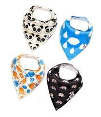 Bandana Bib 4 Pack - Cute Animals Unisex Bandana Bibs for