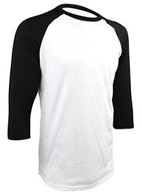 Enimay Men's Baseball Jersey 3/4 Sleeve Raglan Shirt White