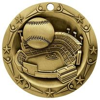 Baseball World Class Gold Medal with Red, white & blue v-