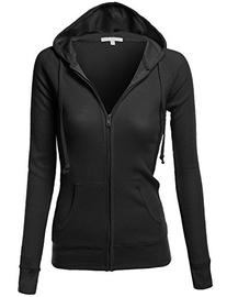 Women's Basic Lightweight Zip Fleece Hooded Jacket Black
