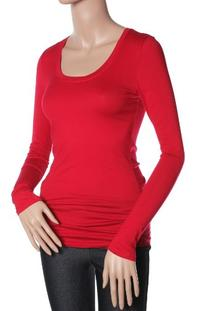 Active Basic Womens Plain Basic Deep Scoop Neck Long Sleeves