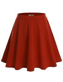 Doublju Versatile Elastic Waist Flared Mini Skater Skirt