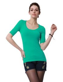 Doublju Womens Trendy 3/4 Sleeve Round Neck Easy Wear Top