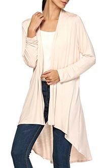 ACEVOG Women's Basic Rayon Span Open Drape Cardigan Sweater