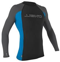 Basic Skins Long Sleeve Crew Surf Shirt, Black Blue - X-