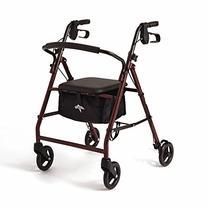 "Medline Basic Steel Rollator with 6"" Wheels, Burgundy"