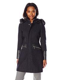 Via Spiga Women's Basket Weave Wool Coat with Faux Fur Trim