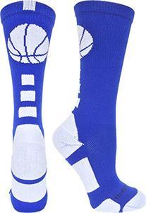MadSportsStuff Basketball Logo Athletic Crew Socks, Medium