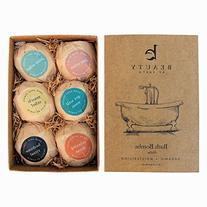 Bath Bombs Gift Set, Large, Organic & Natural Ingredients,