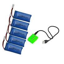UUMART 5PCS 3.7V 500mAh Battery With Charger For Hubsan X4