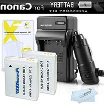 2 Pack Battery And Charger Kit For Canon PowerShot SX280 HS