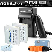2 Pack Battery And Charger Kit For Canon PowerShot D30 D10