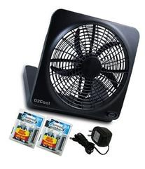 "O2COOL NEW 10"" Battery Operated Fan with Adapter, Graphite"