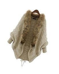 Cocotina Batwing Long Sleeve Cardigan Fur Collar Knitwear