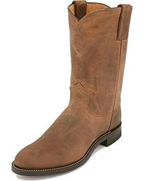 Justin Mens Bay Apache Leather Western Boots 10in Roper 10D
