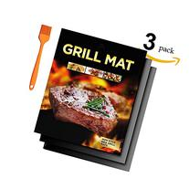 BBQ Grill Mat - Set of 3  Durable, Non-Stick Grilling Mats,