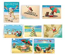 Beach Christmas Card Variety Pack - 24 Cards & Envelopes -
