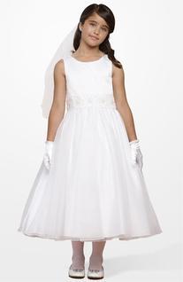 Girl's Us Angels Beaded Waist Dress, Size 7 - White
