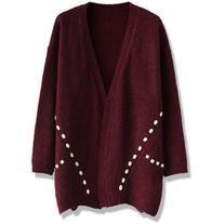Chicwish Beads Decorated Knitted Cardigan in Wine