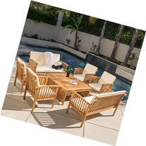 Great Deal Furniture Beckley 8-pc Outdoor Wood Sofa Seating