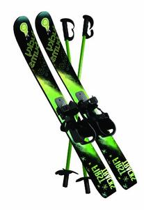 Lucky Bums Kids Beginner Snow Skis and Poles, Green and