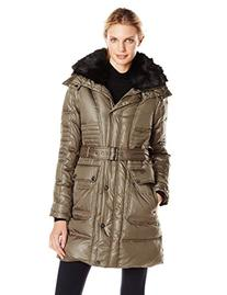 Vince Camuto Women's Belted Down Coat with Utility Pockets