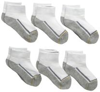 Gold Toe Big Boys' 6 Pack Athletic Low Cut Sock, White/Multi