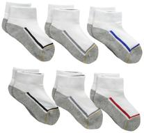Gold Toe Big Boys' 6 Pack Athletic Low Cut Sock, White/Grey
