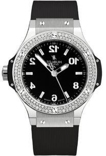 Hublot Big Bang Black Dial Diamond Black Rubber Ladies Watch