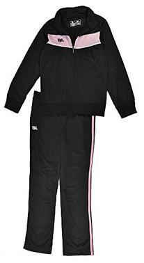 New Balance Big Girls Black & Pink 2pc Track Suit Set