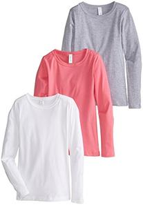 Clementine Big Girls' Everyday Long Sleeve Tee 3 Pack, White