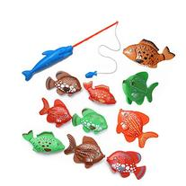 10Pcs Big Fishes + One Magnetic Fishing Pole Kids Fishing