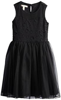 Speechless Big Girls' Illusion Dress with Flower Applique,