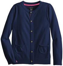 Nautica Big Girls' Jersey Sweater with Pockets, Medium Navy