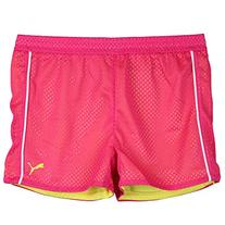 Puma Big-Girls Mesh Athletic Exercise Gym Shorts Pink Yellow