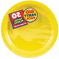 "Big Party Pack Paper Dinner Plates 9"" 60/Pkg-Sunshine Yellow"