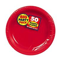 Big Party Pack Apple Red Plastic Plates, 50 Ct