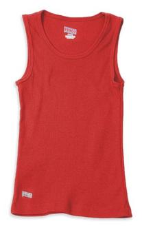 Soffe Big Girls' Ribbed Tank,Red,L