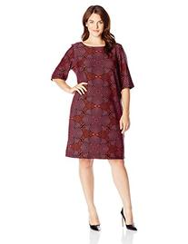 Taylor Dresses Women's Big Scuba Abstract Shift, Crimson