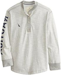 Nautica Big Boys' Stripe Jersey Henley Tee, Ash Heather,